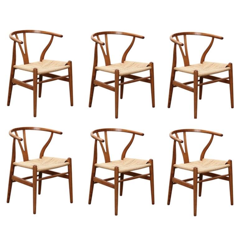 set of six hans wegner wishbone chairs y chair at 1stdibs. Black Bedroom Furniture Sets. Home Design Ideas