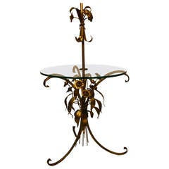 Italian Gilt Floral Floor Lamp with Glass Table