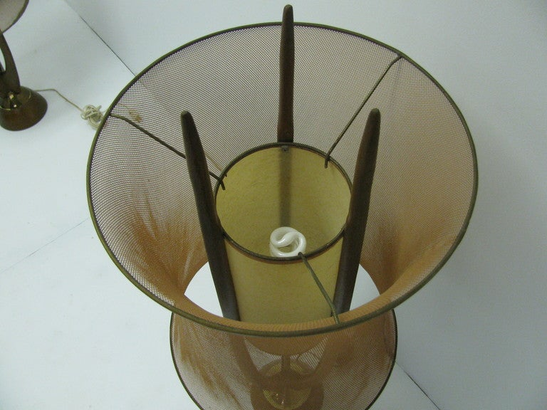 Wood Danish Mid-Century Modern Floor Lamp with Copper Mesh Shade For Sale