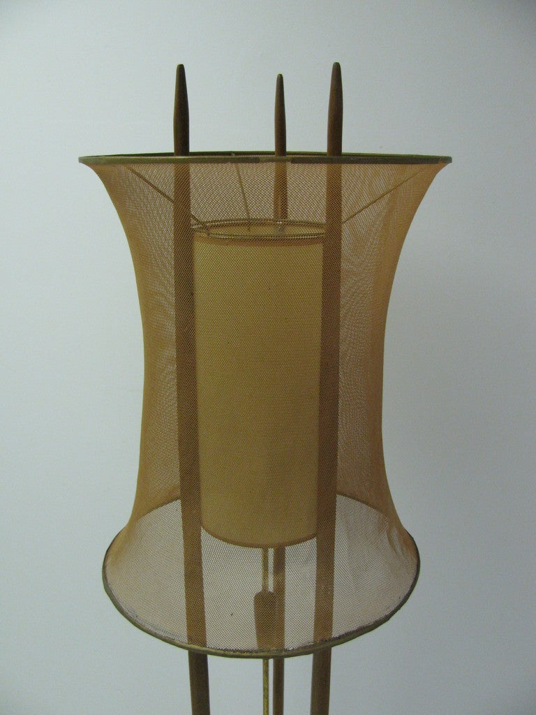 Mid-20th Century Danish Mid-Century Modern Floor Lamp with Copper Mesh Shade For Sale