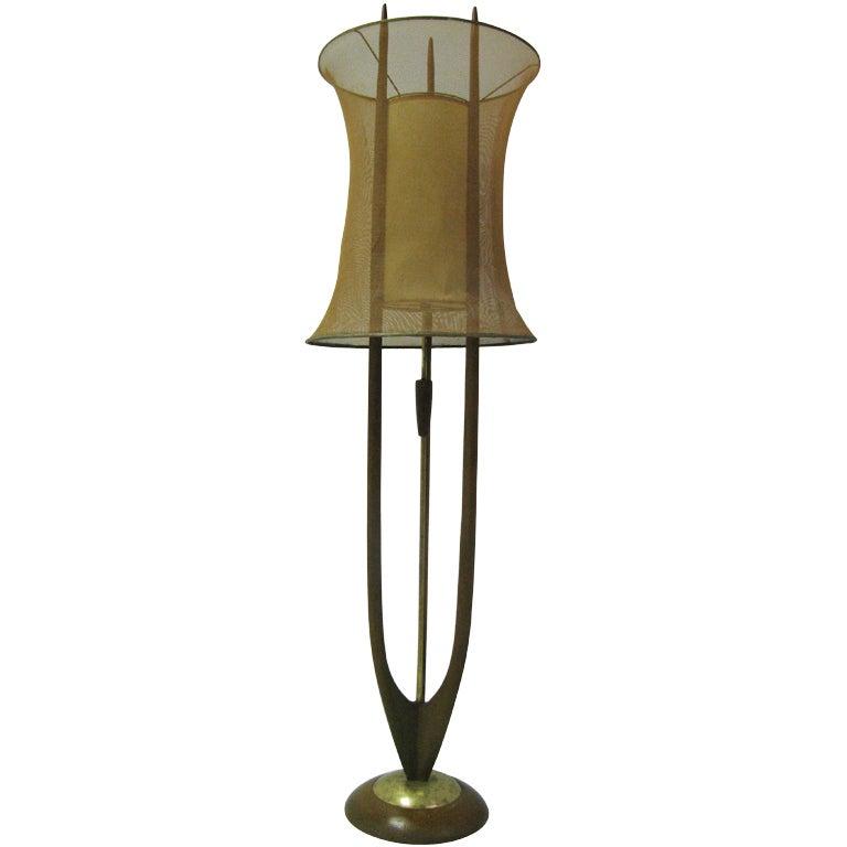 Melrose Mid Century Brass White Shade Floor Lamp: Danish Modern Mid Century Floor Lamp With Copper Mesh