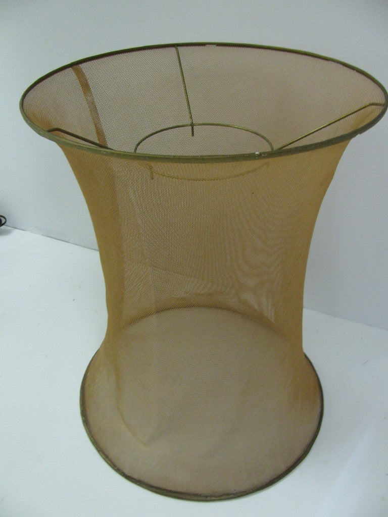 Danish Mid-Century Modern Floor Lamp with Copper Mesh Shade For Sale 1