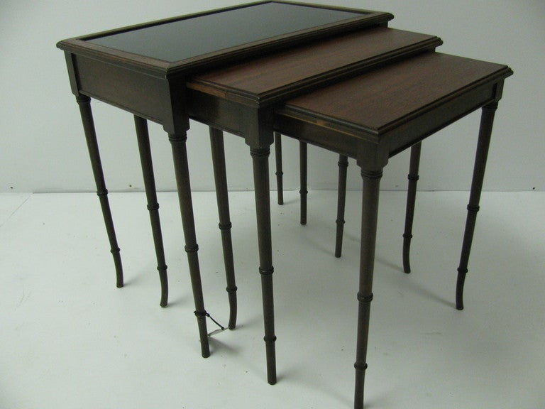 Neoclassical Mid Century Mahogany French C1948 Faux Bamboo Nesting Tables For Sale