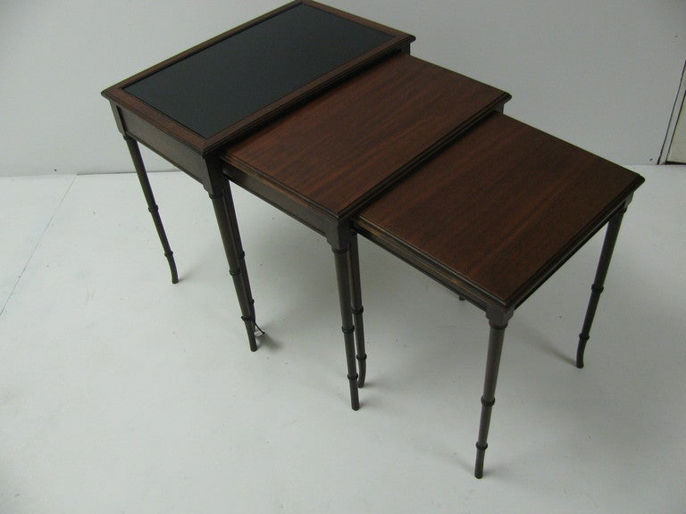 Mid Century Mahogany French C1948 Faux Bamboo Nesting Tables For Sale 2