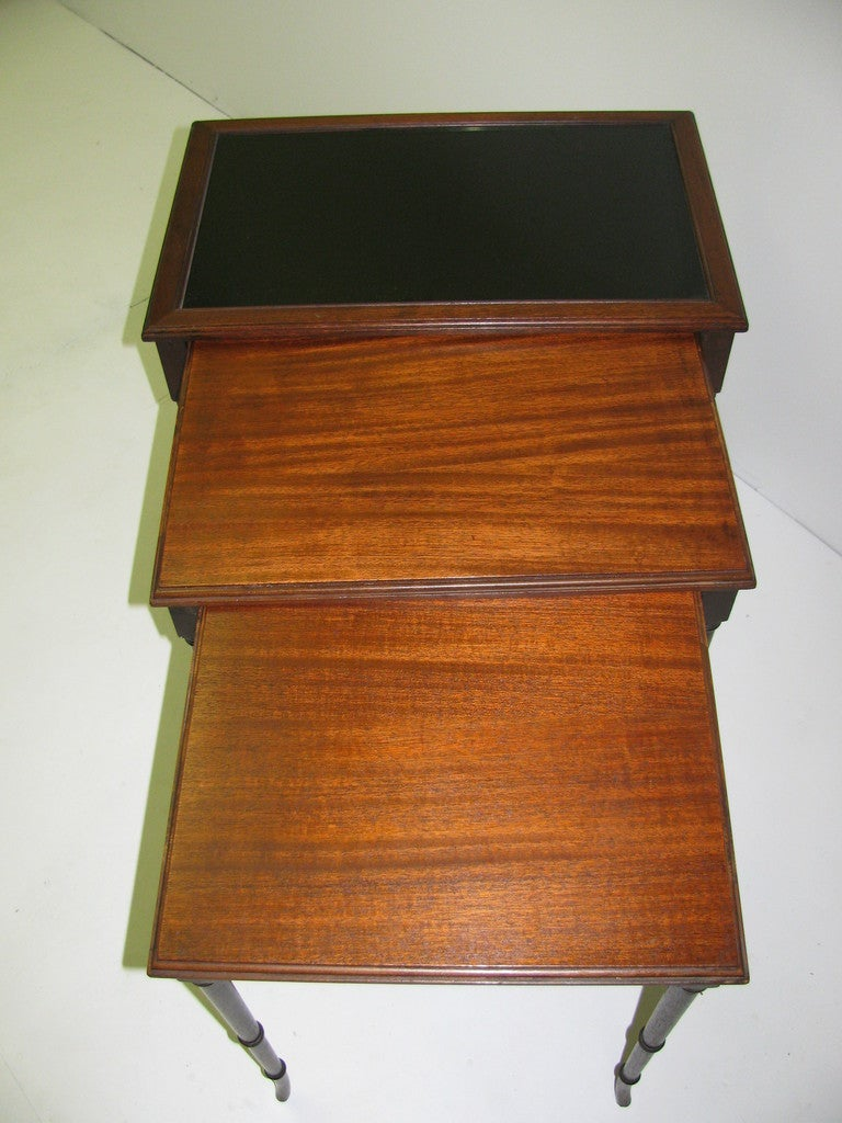 Mid Century Mahogany French C1948 Faux Bamboo Nesting Tables For Sale 3