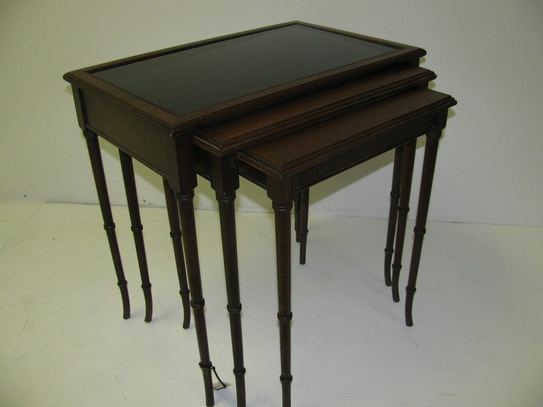 Mid Century Mahogany French C1948 Faux Bamboo Nesting Tables For Sale 4