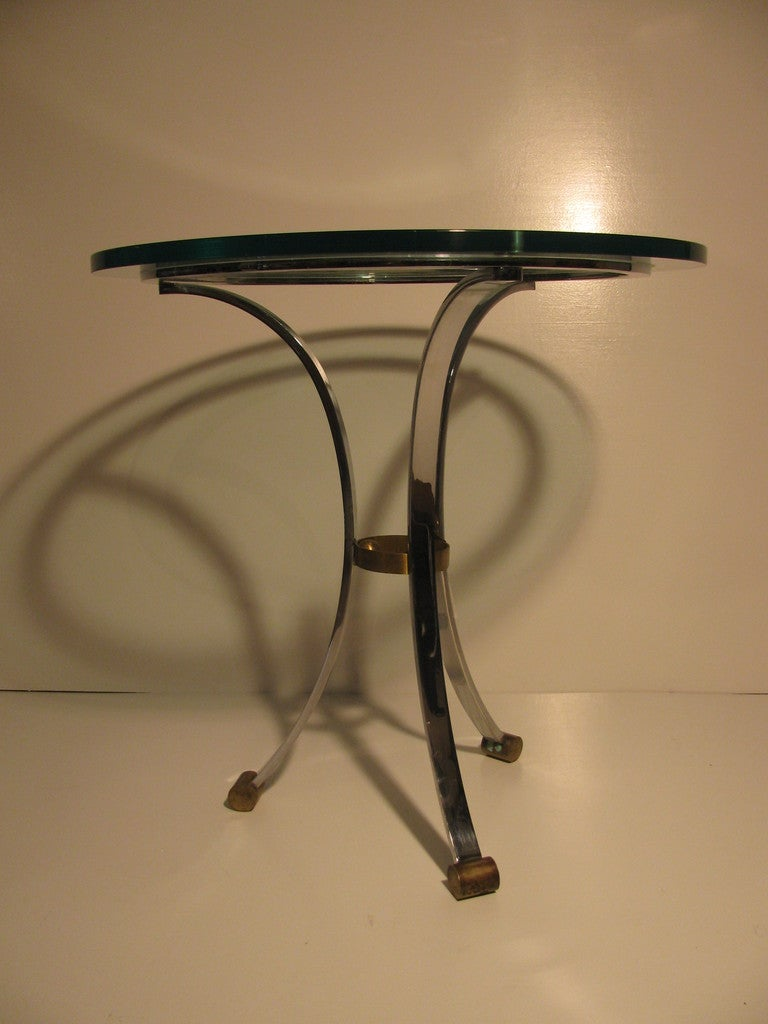 Late 20th Century Pair of Maison Jansen Glass with Nickel Side Tables For Sale