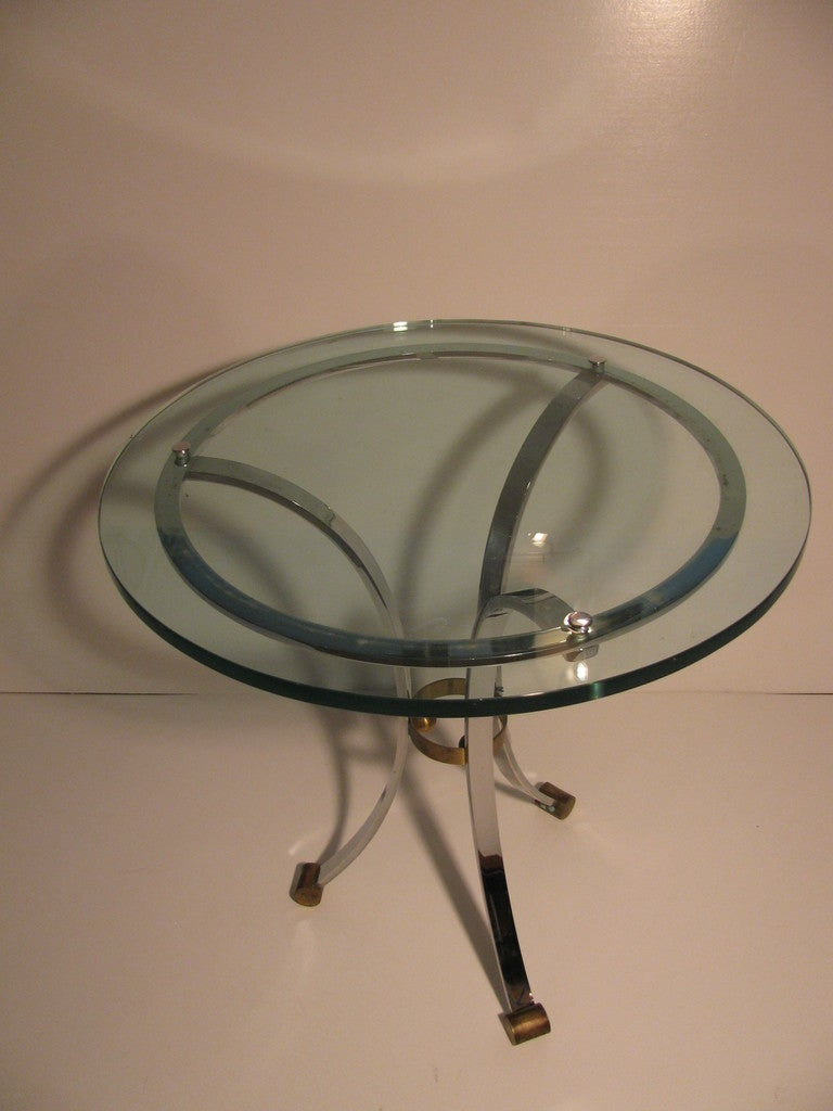 Mid-Century Modern Pair of Maison Jansen Glass with Nickel Side Tables For Sale