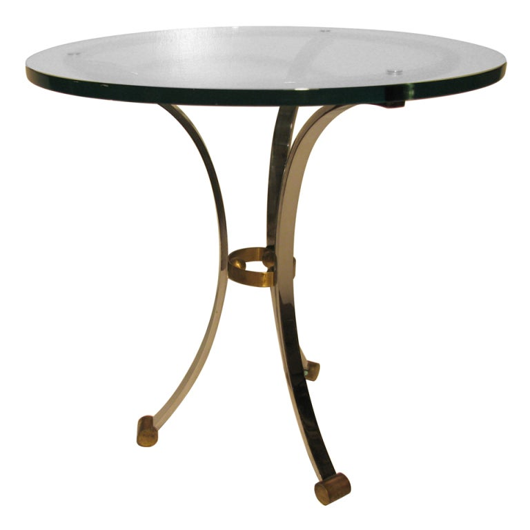 Pair of Maison Jansen Glass with Nickel Side Tables For Sale