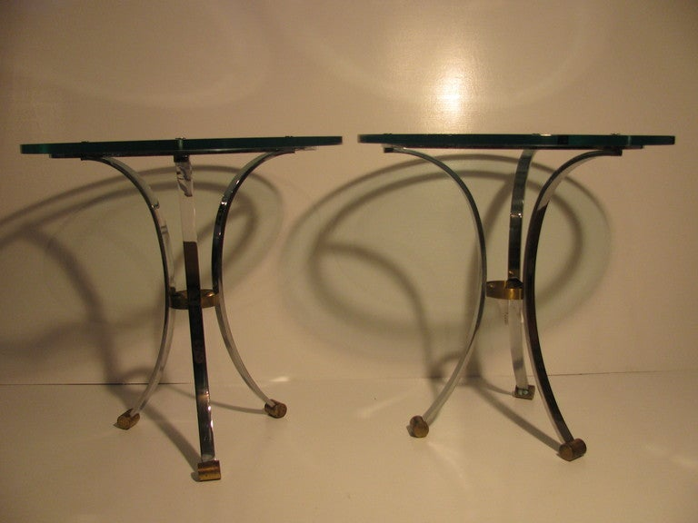 French Pair of Maison Jansen Glass with Nickel Side Tables For Sale