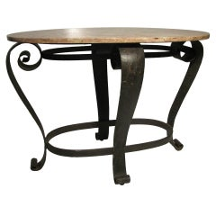 1940s French Iron Marble-Top Center / Console Table