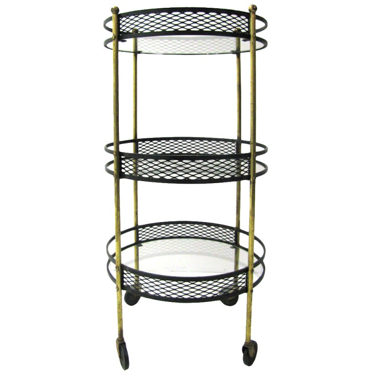 Mid century iron and brass rolling bar serving cart arthur umanoff at 1stdibs Home furniture port arthur hours