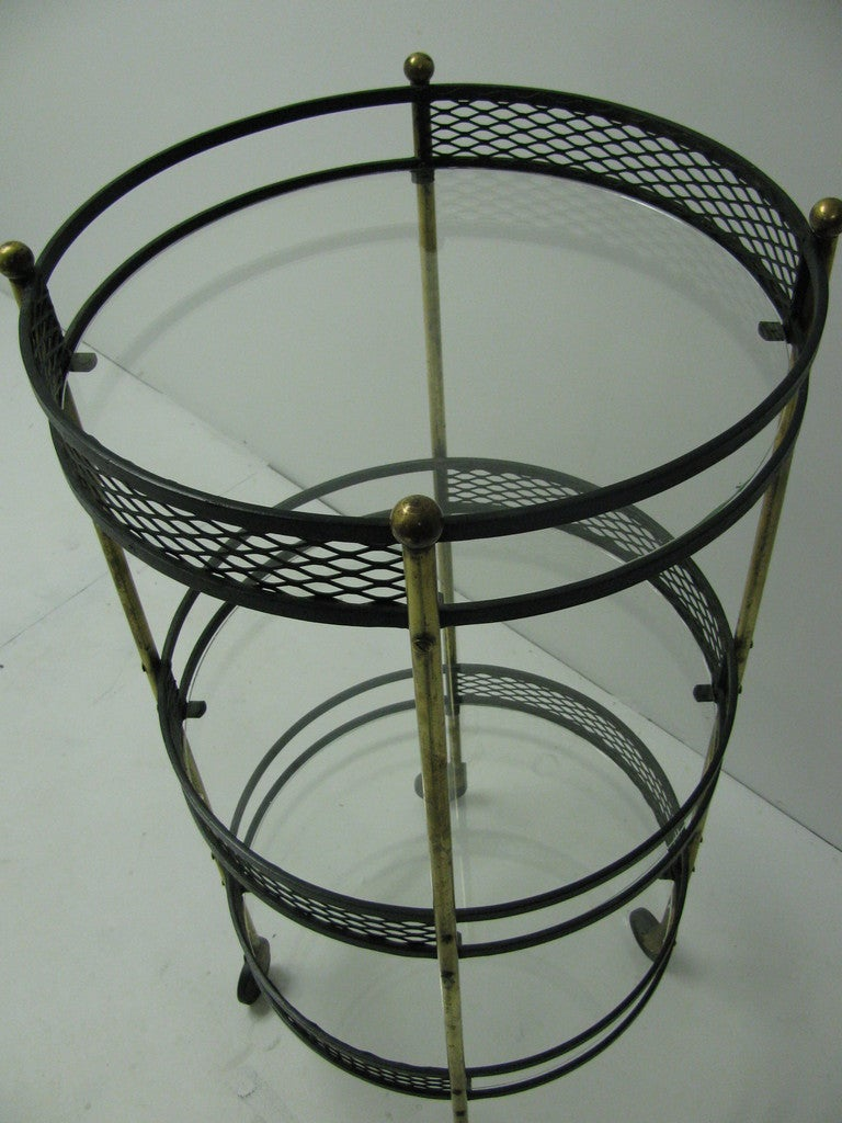 Mid Century Iron Patio Chairs: Mid Century Iron And Brass Rolling Bar / Serving Cart