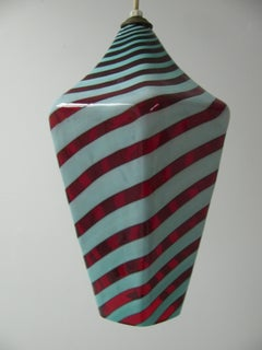 Mid Century Modern Venini Art Glass Hanging Pendant Lamp Murano
