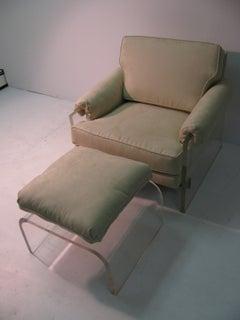 "Mid-Century Modern Club Chair Ottoman Milo Baughman ""The Environment Collection"""