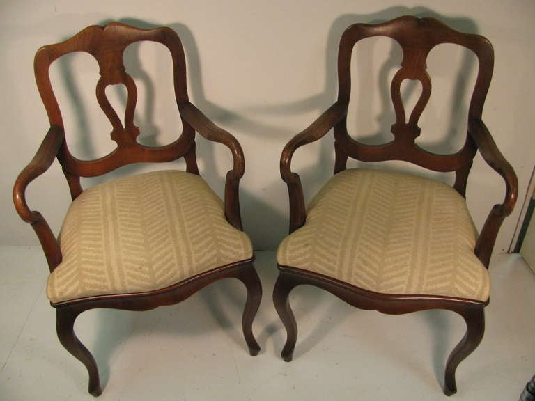 Set Of Eight French Provincial Dining Arm Chairs By Cassard Romano For Sale At 1stdibs
