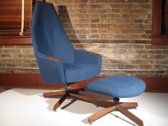 Mid-Century Modern Adrian Pearsall Highback Lounge Chair with Ottoman
