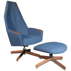 Adrian Pearsall Highback Lounge Chair with Ottoman