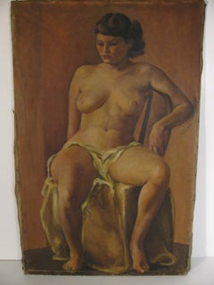 Nude Seated by American Artist Jane White C1950