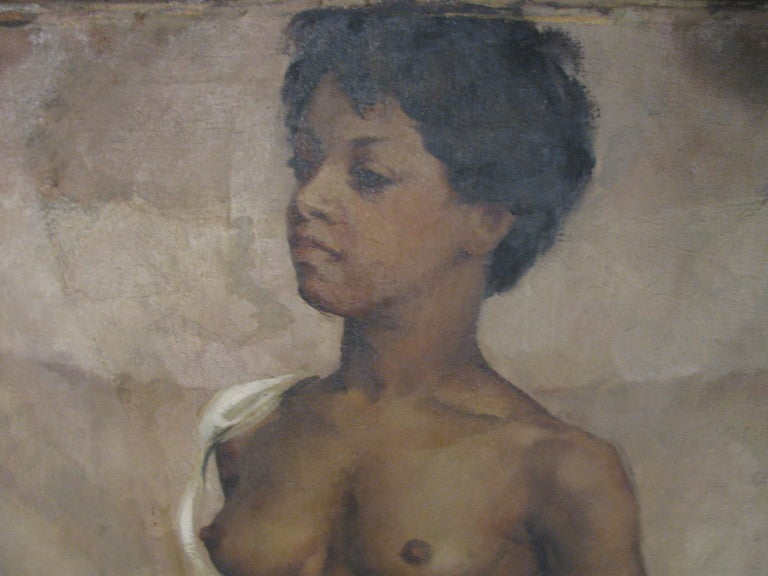 Mid-20th Century Nude Standing, Oil On Canvas By American Artist Jane White For Sale