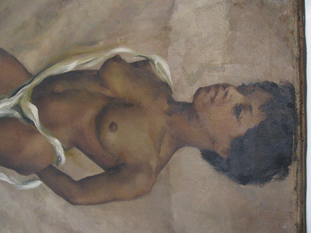 Nude Standing, Oil On Canvas By American Artist Jane White In Good Condition For Sale In Port Jervis, NY