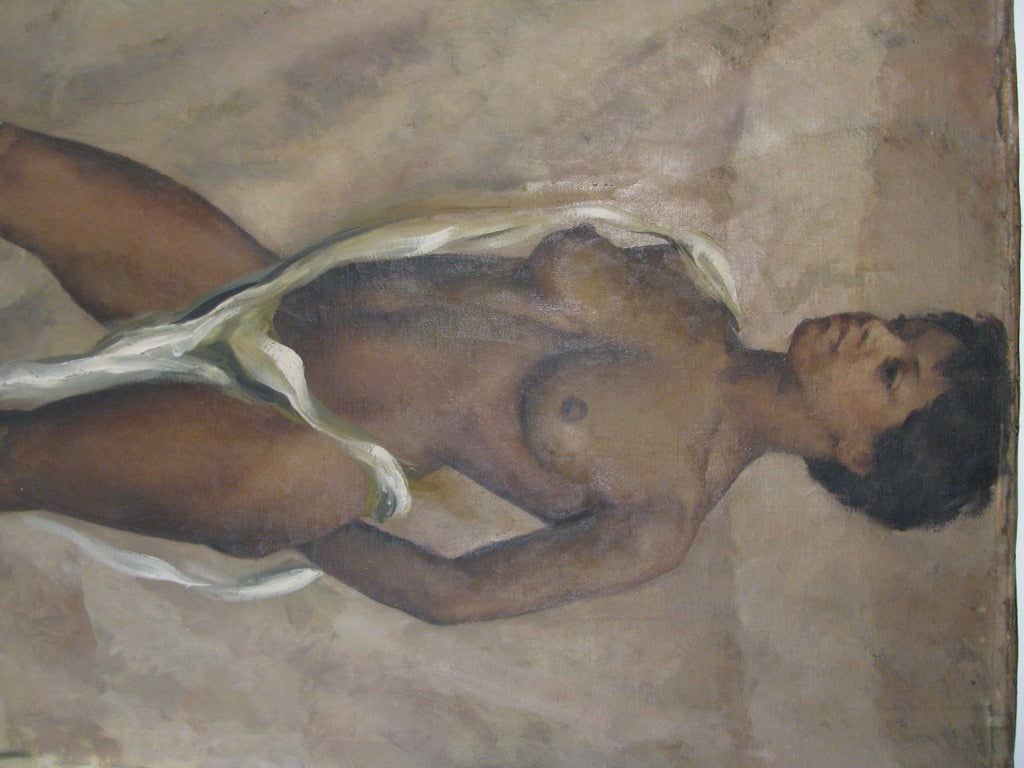 French Nude Standing, Oil On Canvas By American Artist Jane White For Sale