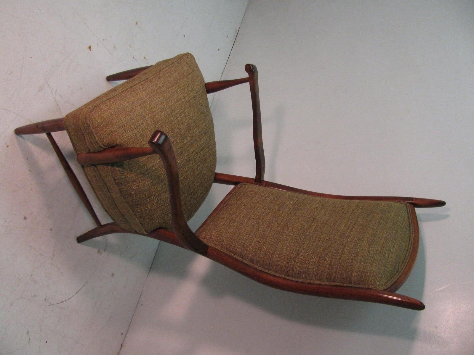 American Mid-Century Modern Curved Tallback Whimsical Armchair Edward Wormley