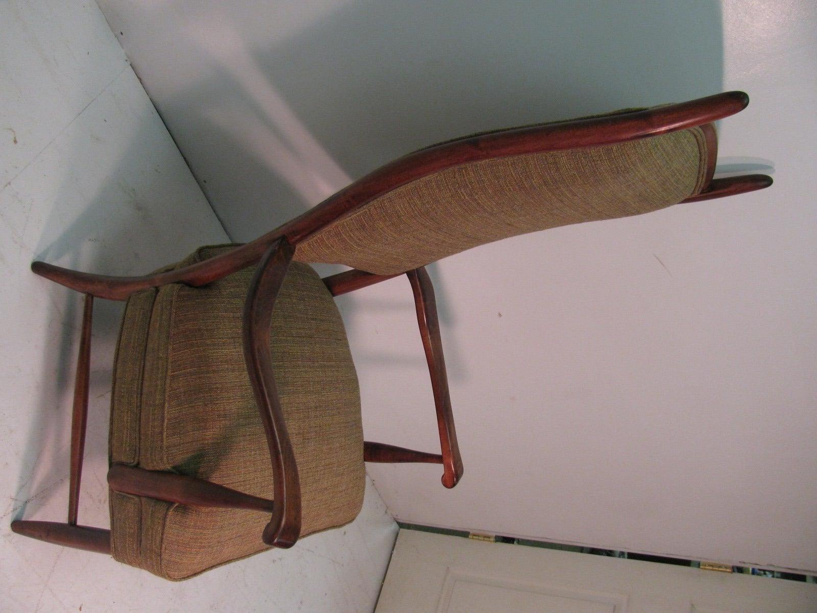 Mid-Century Modern Curved Tallback Whimsical Armchair Edward Wormley 1