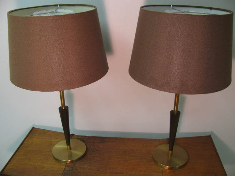Modern Pair of Mid Century Tall Rembrandt Table Lamps For Sale