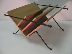 Style of Raymond Loewy Mid-Century Modern Iron and Wood Magazine Rack