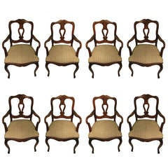 Set Of Eight French Provincial Dining Arm Chairs By Cassard Romano