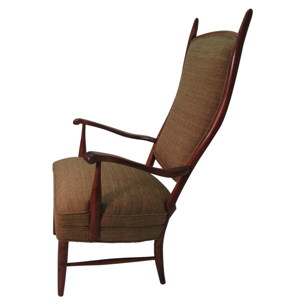 Mid century modern curved tallback armchair at 1stdibs for Mid century modern armchairs