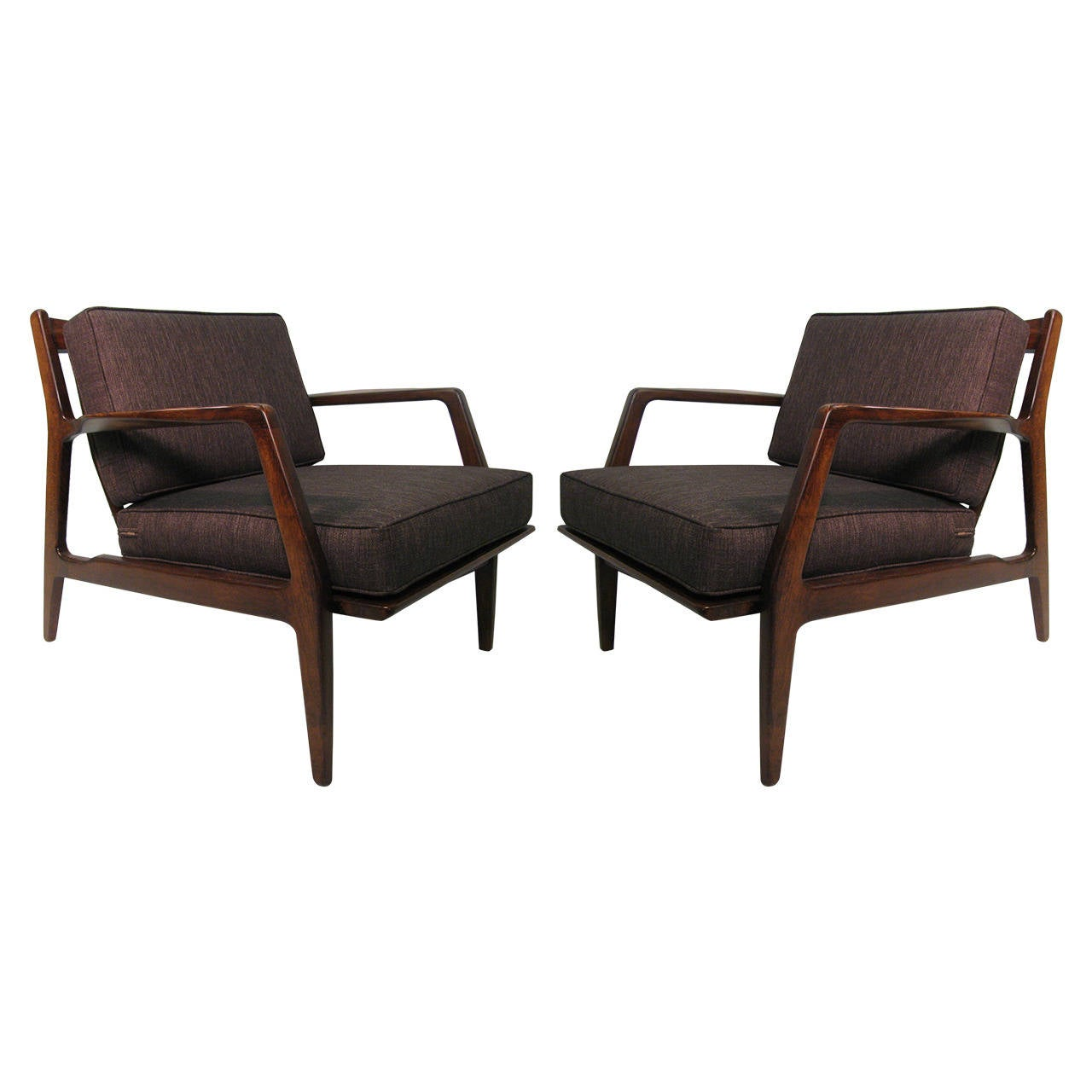 This sculptural pair of lounge chairs by ib kofod larsen is no longer - Pair Of Danish Modern Lounge Chairs By Ib Kofod Larsen 1