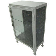 19th Century Painted Cast Steel and Glass Medical Cabinet