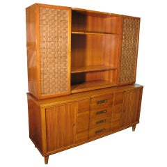 Mid Century Modern Credenza With Tamboor Doors by Edward Wormley for Widdicomb
