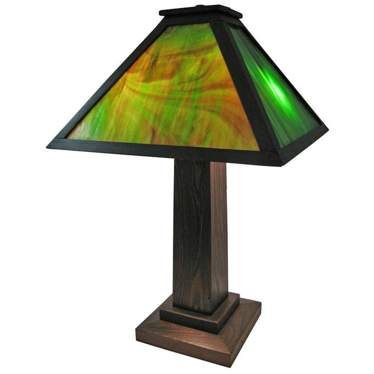 Arts and crafts adirondacks slag glass table lamp at 1stdibs for Arts and crafts glass