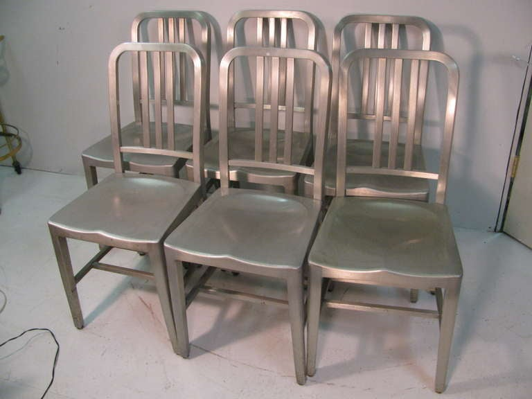 Good Form Set Of Six Aluminum Dining Chairs At 1stdibs