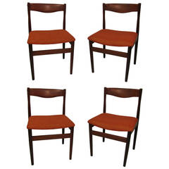 Set of Four Mid-Century Poul Volther Teak Dining Chairs