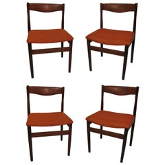 Set of Four Mid Century Danish Modern Poul Volther Teak Dining Chairs