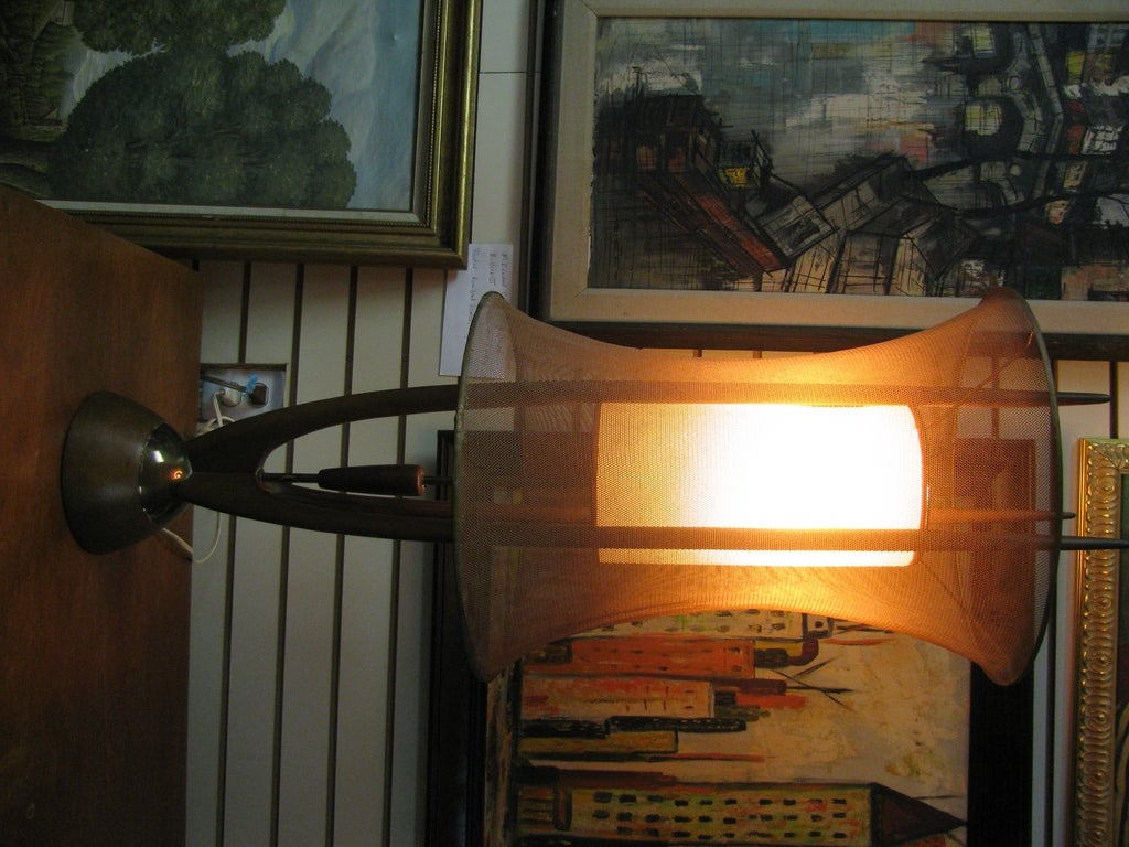 Danish Mid-Century Modern Floor Lamp with Copper Mesh Shade For Sale 5