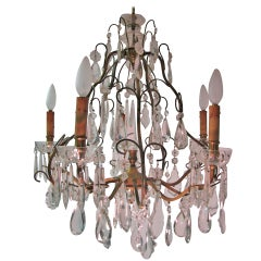 Louis XV Style Gilt and Iron Crystal Chandelier Style of Maison Jansen
