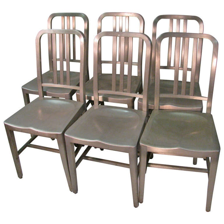 Good Form Set Of Six Aluminum Dining Chairs For Sale