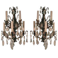 Pair Of French Louis XVI Crystal And Bronze Sconces