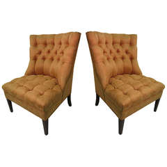 Pair of Fabulous Button Tufted Slipper Chairs