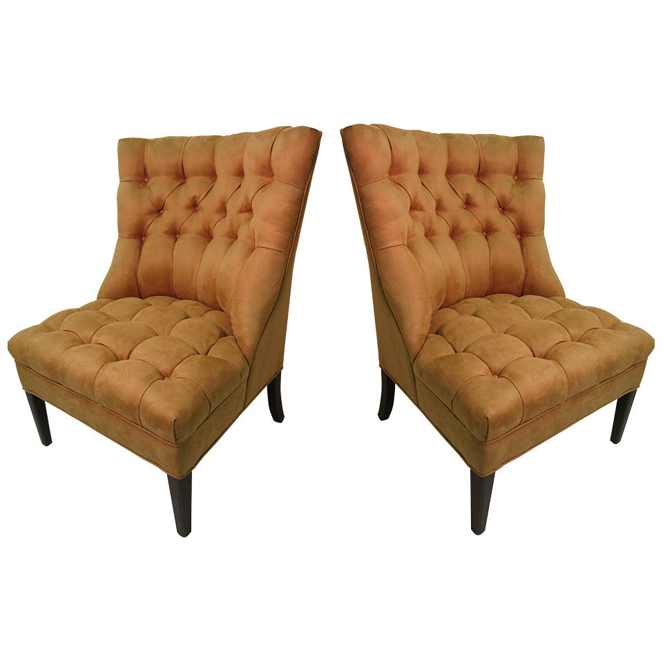 Pair of Hollywood Regency Button Tufted Slipper Chairs