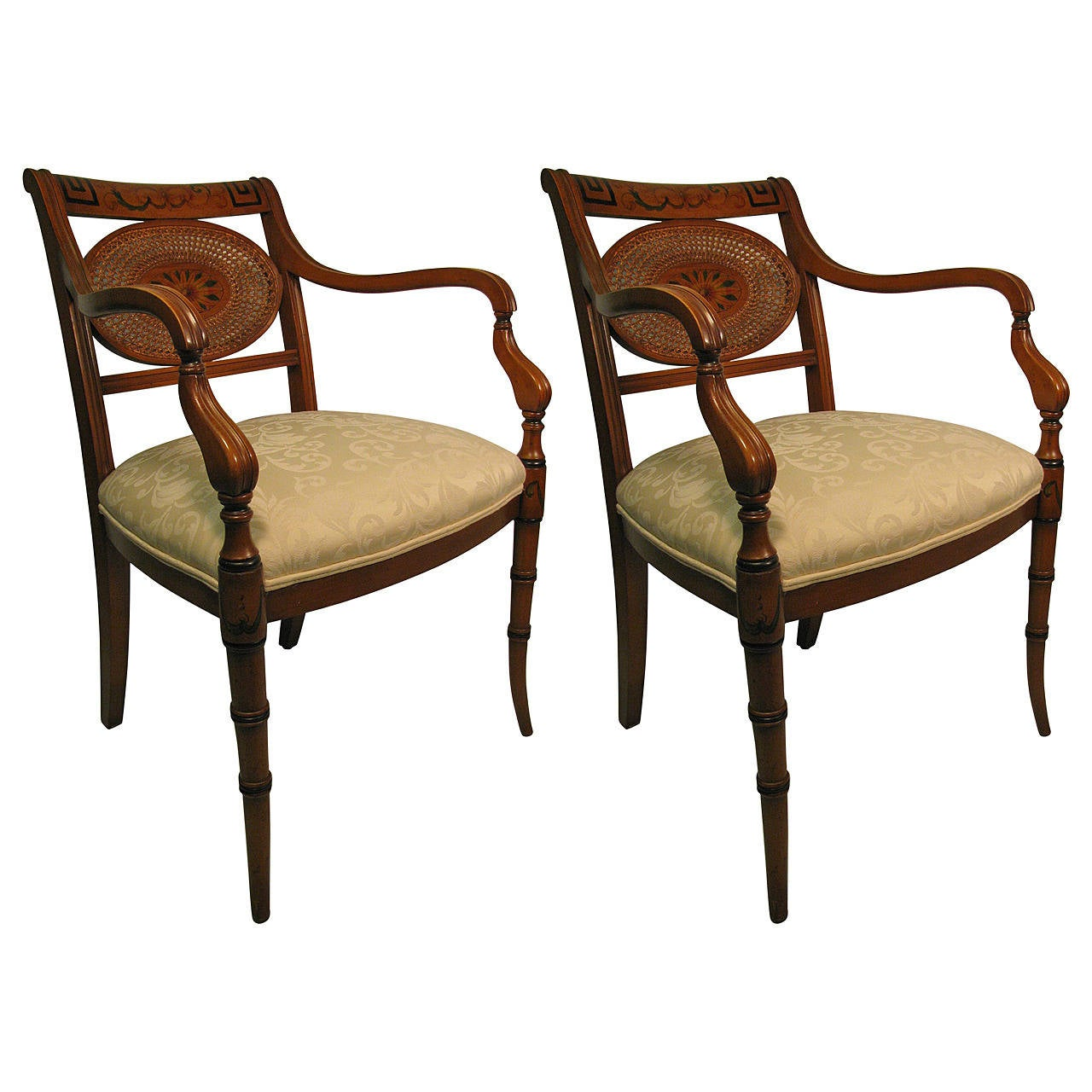 Pair of Adams Style Caned Back Armchairs