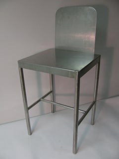 Pair of Modernist Stainless Stools