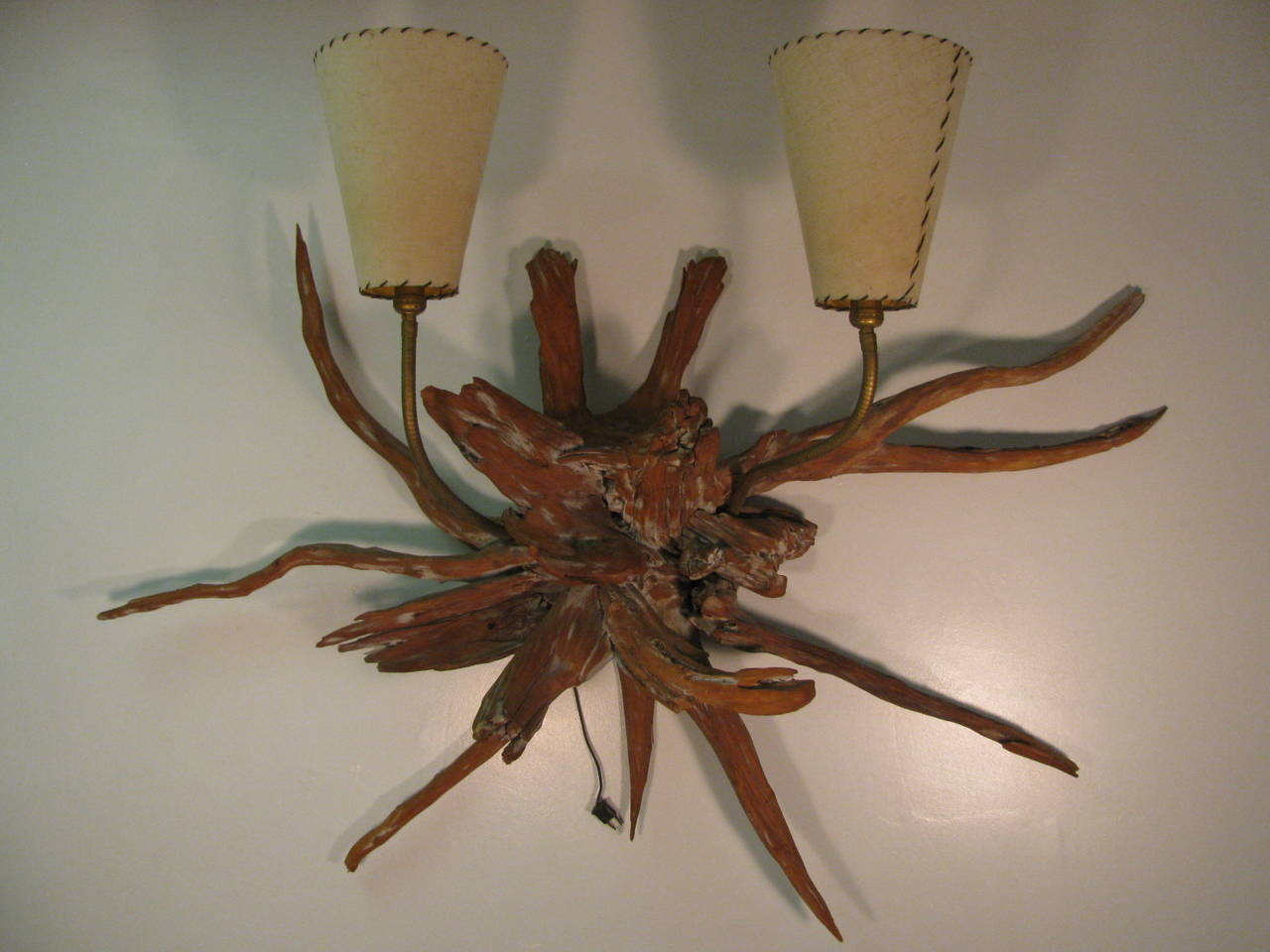 Amazing Pair of Mid-Century Modern Sun Bleached Root Wall Sconces For Sale 1