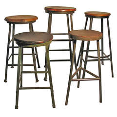 Pair Of Bausch And Lomb Black Metal Counter Height Stools