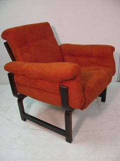 Pair of Mid Century Brazilian Rosewood Lounge Chairs Manner of Jean Gillon
